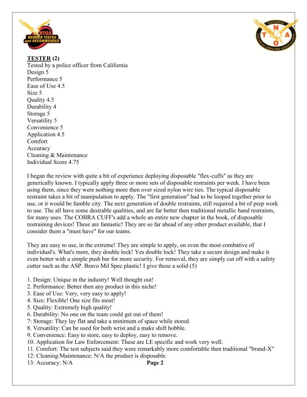 Cobra Cuffs Page 2 Testimonal