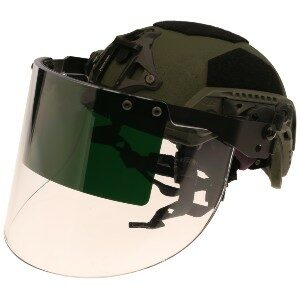 """DK7-X.250AF-RC-S5 - Rail-Mount Breaching Face Shield, Ops-Core® Compatible, has 4"""" shade 5 green strip for exothermic cutting & breaching operations"""