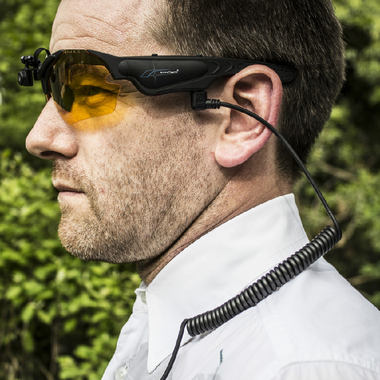 AimCam glasses on person